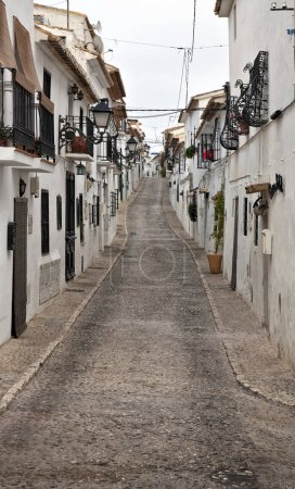 streets with White houses of beautiful old town Altea in the Costa Blanca of Spain.