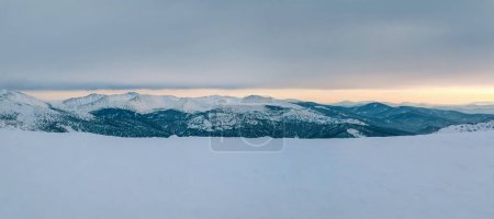 Winter mountain landscape overlooking the of the forest valley. Panoramic photo.