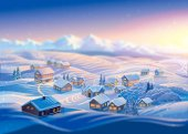 Winter landscape with village and hills, montane forests in the snow. Raster illustration.