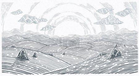Photo pour Paysage vallonné, lever du soleil au-dessus des montagnes et des collines en style graphique. - image libre de droit