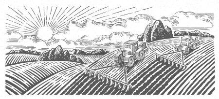 Gospodarstwo agroturystyczne krajobraz z ciągników