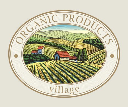 Illustration for Village organic products label. Rural landscape in the frame - Royalty Free Image