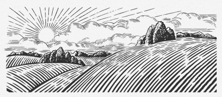 Illustration for Rural landscape with hills, in the graphic style, illustration - Royalty Free Image