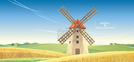 Illustration for Rural landscape with windmill, vector illustration. - Royalty Free Image