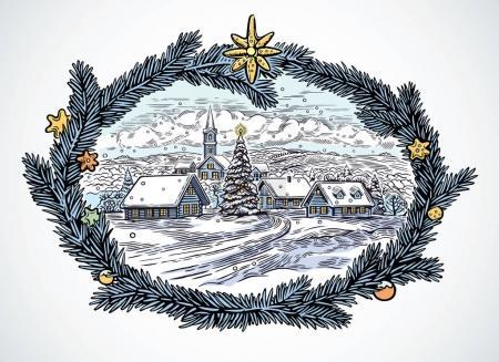 Festive winter rural landscape