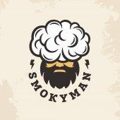 Modern vector professional sign logo smoky man