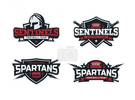 Illustration for Modern professional football logo set for sport team. - Royalty Free Image