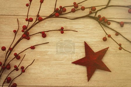 Red Christmas star and berries