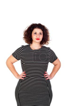 Curvy girl with striped dress