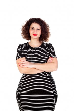 curvy girl with striped dress