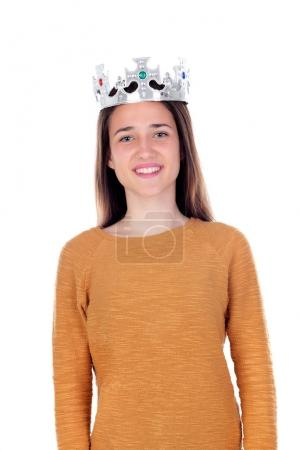 Smiling teenager girl with silvered crown
