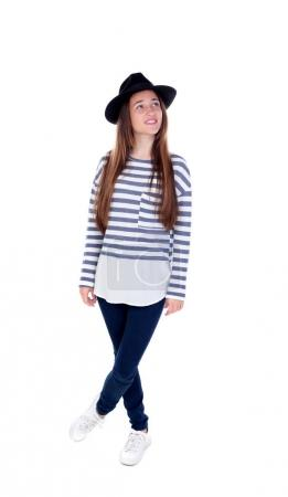 Pretty teenager girl with black hat