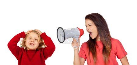 Crazy woman shouting by megaphone to boy