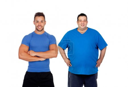 Photo for Fat man and his coach ready to train isolated on white background - Royalty Free Image