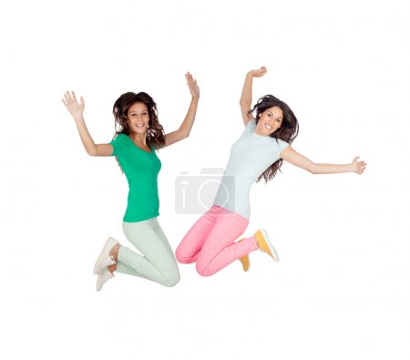 Two happy excited young women