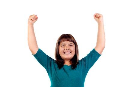 excited brunette girl
