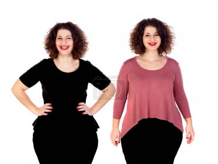 smiling beautiful overweight young woman in different clothes isolated on white background
