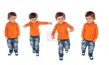 collage photos of cute little boy isolated on a white backgroud