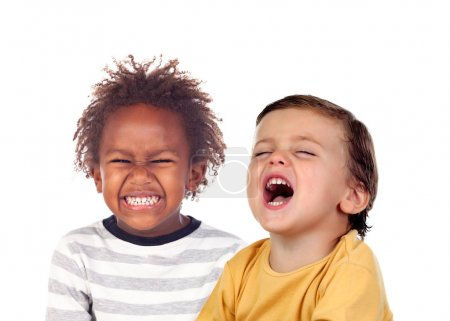 portrait of two beautiful little boys laughing  isolated on white background