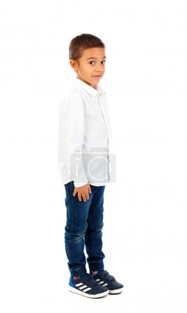 cute happy little African boy in white shirt  and jeans isolated on white background