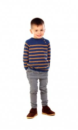 cute little boy smiling isolated on white background