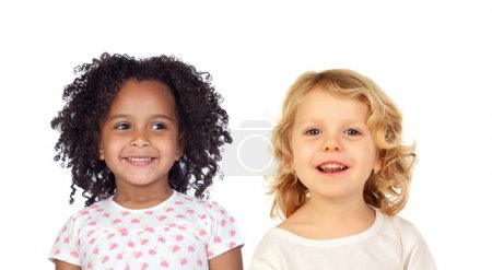 Photo for Two happy cute children posing isolated on white background - Royalty Free Image