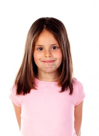 Photo for Happy little girl posing isolated on white background - Royalty Free Image