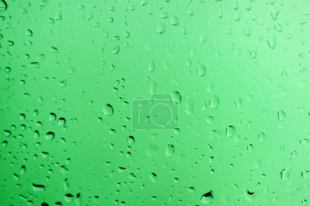 clean water drops on green glass, beautiful monochrome background