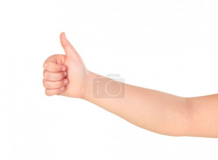 child's hand showing thumb up gesture isolated on white background
