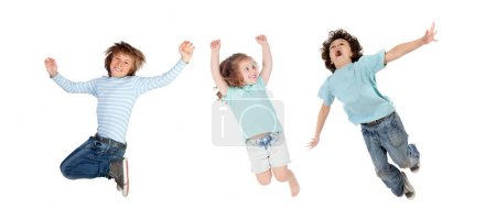 crazy little kids  jumping isolated on a white background