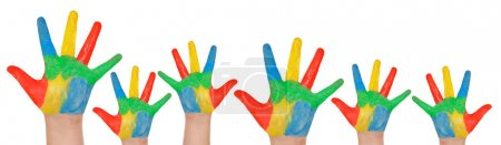 Children's hands full of paint isolated on white background