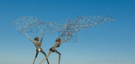 Fishermen sculpture on Onega lake embankment