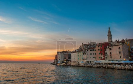 Old town of Rovinj at sunset