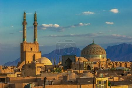Sunset over ancient city of Yazd