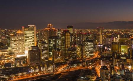 Scenic Panoramic view of Osaka at night