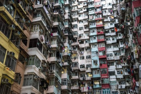View of overcrowded poor residential building in Hong Kong