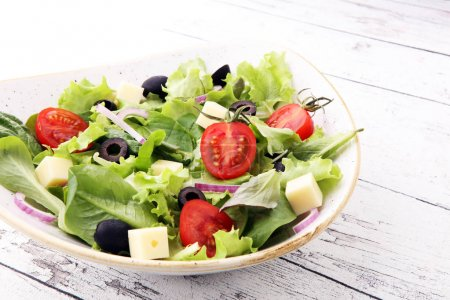 Photo for Salad with cheese and fresh vegetables. Greek salad - Royalty Free Image