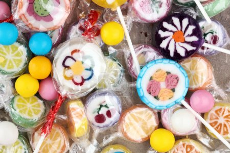 Photo for Candies with jelly and sugar. colorful array of different childs sweets and treats - Royalty Free Image
