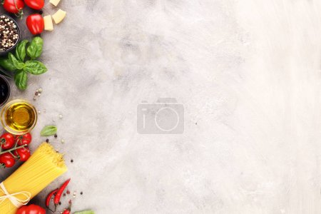 Photo for Italian food background with different types of pasta, health or vegetarian concept. Top view with copy space. - Royalty Free Image