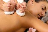 Detail of herbal pinda massage.