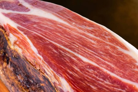 Cured Spanish Iberian Bellota pork ham.