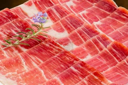Appetizing cut pieces of Spanish cured pork ham.