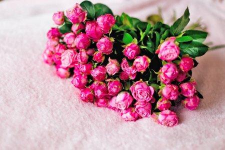 Photo pour Grand bouquet chic de roses délicates sur une couverture rose - image libre de droit