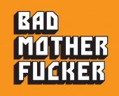 Pulp Fiction inspired hand drawn vector text of the words Bad Mother Fucker