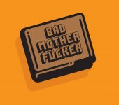 Pulp Fiction inspired vector illustration if wallet with the words Bad Mother Fucker in custom hand drawn font