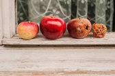 four apples: an acerbic, a mature, an old, a march
