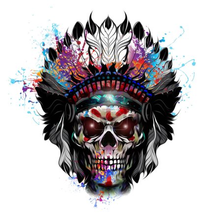 Hand-drawn indian skull illustration...