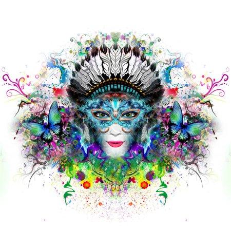 Photo pour Femme abstrait et mystique visage illustration colorée - image libre de droit