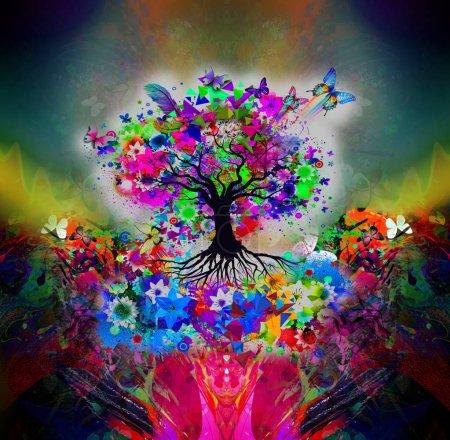 Photo pour Floral fond papillons arbre coloré - image libre de droit