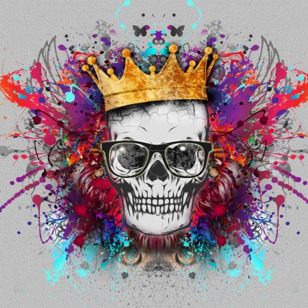 Hand-drawn symmetric skull with grunge colorful pa...